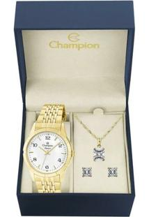 Kit Relógio Champion Feminino Elegance - Cn25449W - Feminino-Dourado