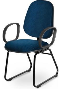 Cadeira Gerente Base Trapã©Zio Braã§O Cors Azul - Azul - Dafiti