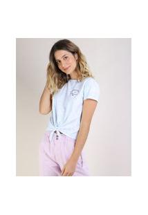 Blusa Feminina Estampada Tie Dye Com Nó Manga Curta Decote Redondo Azul Claro
