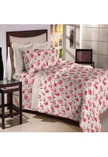 Jogo De Cama Solteiro Textil Lar Rosas 180 Fios