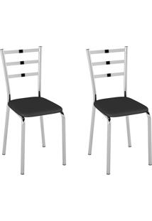 Cadeiras Kit 2 Cadeiras Corino Pc140001 Preto - Pozza