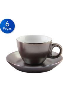 Conjunto De Xícaras Para Café Com Pires 6 Peças 80 Ml Argent Silver -Bon Gourmet - Branco