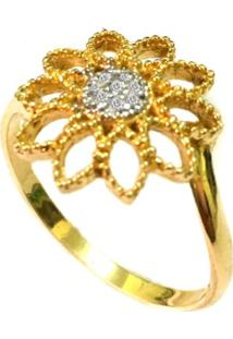 Anel Prata Mil Flor De Ouro Com Zircônia Ouro - Kanui