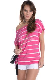T-Shirt Kam Bess Ombro Caído Rosa