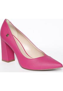 Scarpin Em Couro Com Tag Lateral- Pink- Salto: 10Cm