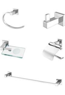 Kit Acessórios Para Banheiro Com 5 Peças Meber Athena 501 C 34 Cromado