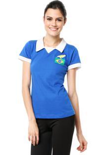 Camisa Polo Licenciados Futebol Retrô Brasil Azul