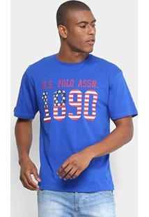 Camiseta Estampada U.S.Polo Assn Manga Curta Masculina - Masculino-Azul Royal