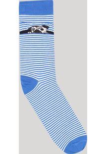 Meia Masculina Cano Alto Divertida Listrada Com Cachorro Azul