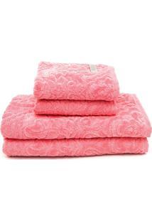 Jogo De Banho Atlântica 4Pçs Sofisticata Limonada Rosa