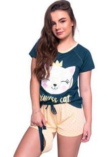 Pijama Curto 4 Estações Baby Doll Manga Gatinho Com Tapa Olho Feminino - Feminino-Azul