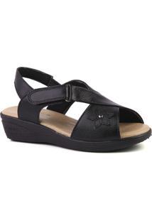 Sandália Couro 7998 Doctor Shoes Feminina - Feminino-Preto