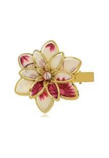 Presilha Le Diamond Flor Grande Em Acrílico Estampado - Feminino-Dourado
