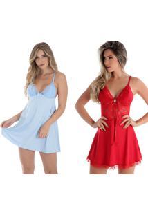Kit 2 Peças Camisola Rendada Sem Bojo Azul Celeste E Vermelha Diário Íntimo