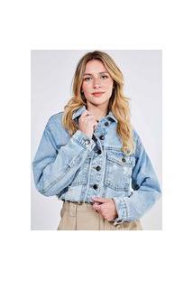 Jaqueta Cropped Em Jeans Claro