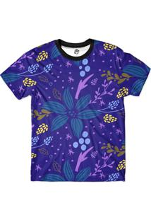 Camiseta Bsc Floral Full Print Roxo