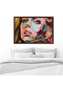 Quadro Love Decor Com Moldura Painting Girl Madeira Escura Grande