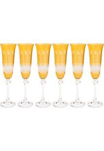 Jogo De Taças Para Champagne 6 Peças 190Ml Alexandra - Bohemia - Topazio