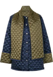Msgm Back Print Quilted Jacket - Azul