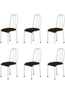 Kit 6 Cadeiras Baixas 0.104 Anatômica Branco/Tabaco - Marcheli