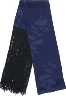... Mm6 Maison Margiela Echarpe Jacquard Com Franjas - Azul 94ca25b4f96