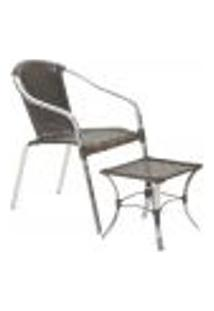 Jogo Cadeira 1Un E Mesa De Centro Pinheiro Para Edicula Jardim Area Varanda Descanso - Pedra Ferro
