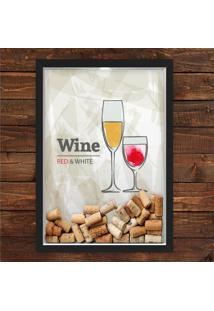 Quadro Caixa 33X43 Porta Rolha Vinho Nerderia E Lojaria Red White Wine Preto