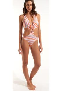 Body Rosa Chá Long Waves Beachwear Estampado Feminino (Estampa Waves, M)