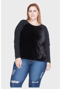 Blusa Raglan Bold Veludo Plus Size 54/56 Feminina - Feminino-Preto