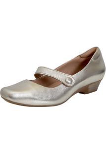 Sapato Laura Prado Fechado Boneca Confort Prata Velho