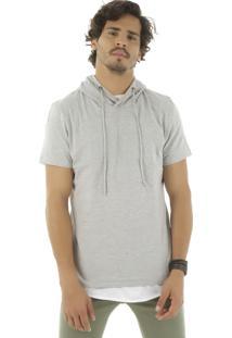 Camiseta Com Capuz Cinza Mescla