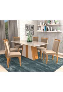 Conjunto De Mesa De Jantar Daiana Com 6 Cadeiras Laura Suede Off White E Joli