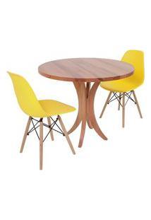 Conjunto Mesa De Jantar Tampo De Madeira 90Cm Com 2 Cadeiras Eiffel - Amarelo
