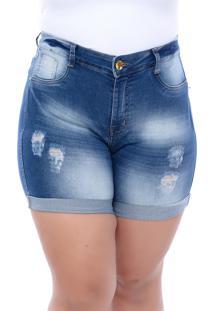 Shorts Jeans Xtra Charmy Modelador Destroyed Azul - Azul - Feminino - Dafiti