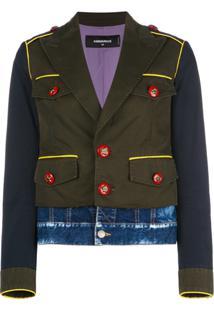 Dsquared2 Jaqueta Militar Com Sobreposição Jeans - Preto