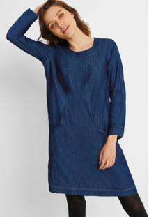 Vestido Jeans Mangas 3/4 Azul