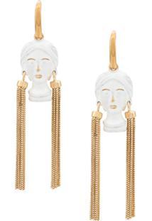 Bottega Veneta Figure Pendant Drop Earrings - Dourado