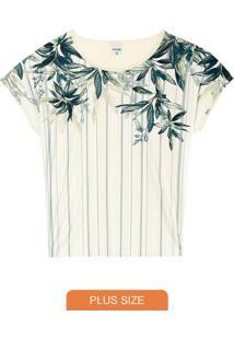 Blusa Off White Tropical Em Liganete Plus