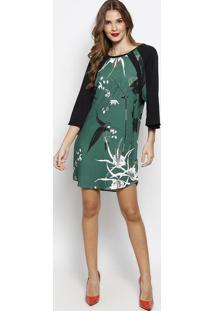Vestido Com Recortes & Tag - Verde & Preto - Forumforum