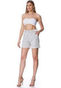 Bermuda Jeans Zait Meia Coxa Nara Feminina - Feminino-Cinza