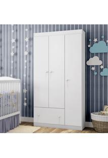 Guarda Roupa Infantil Móveis Estrela Fantasy Baby Clean 3 Portas Branco