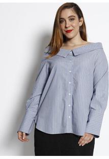 Blusa Ombro A Ombro Listrada- Azul Claro & Branca- Ccotton Colors Extra