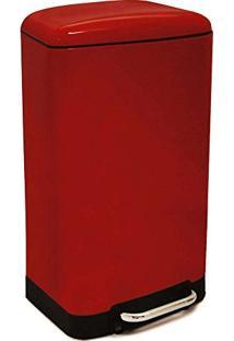 Lixeira De Aço Inox Modern Week Vermelha 30 Litros - 21828