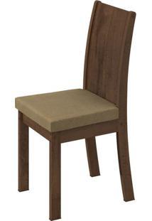 Cadeira Florença Suede Animale Bege Imbuia Soft