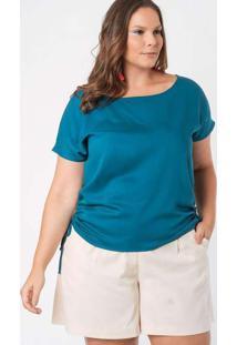 Blusa Almaria Plus Size Munny Amarração Lateral Az
