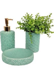 Kit Banheiro Menta Floral Saboneteira Dispenser Escova 3 Peças - Tricae