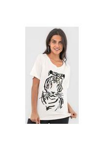 Camiseta Maria Filó Onça Off-White