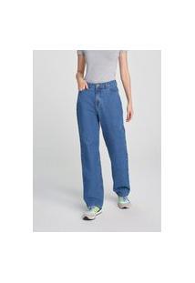 Calça Hering Reta Cintura Super Alta Em Jeans Azul