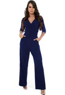 Macacão Pantalona B'Bonnie Florence Azul Marinho - Kanui