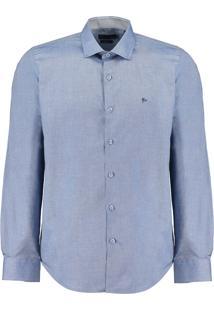 Camisa Ctx Ml Slim Oxford, Colarinho Curto - Azul